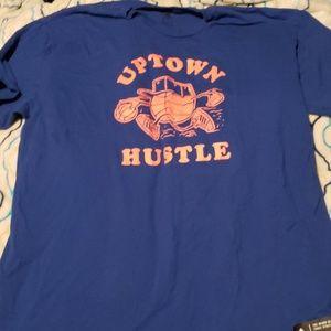 "Adidas blue and orange ""uptown hustle"" shirt"